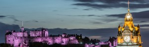 Edinburgh castle and Cityscape at night, Scotland